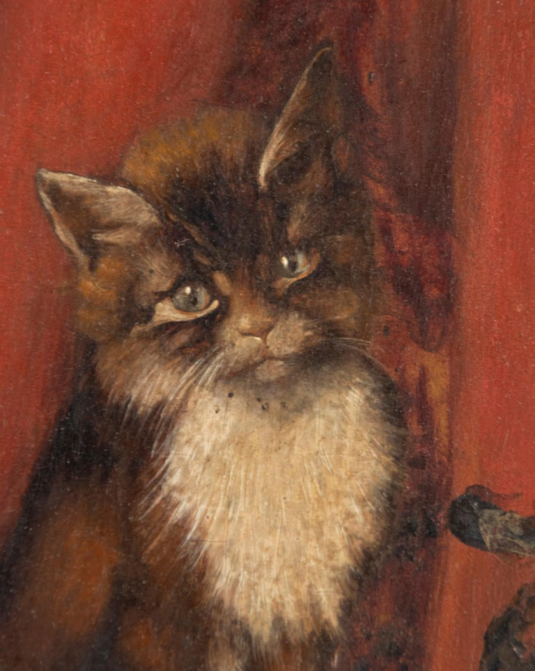 Oak Early 20th Century Oil Painting Young Cat/Kitten by Léonard