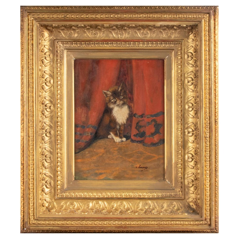 Early 20th Century Oil Painting Young Cat/Kitten by Léonard