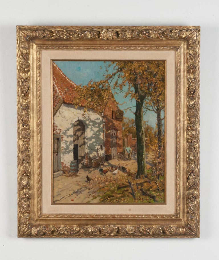 Lovely painting of a farm with chickens in the yard. What is immediately striking about this painting is the representation of the shadows of the tree.