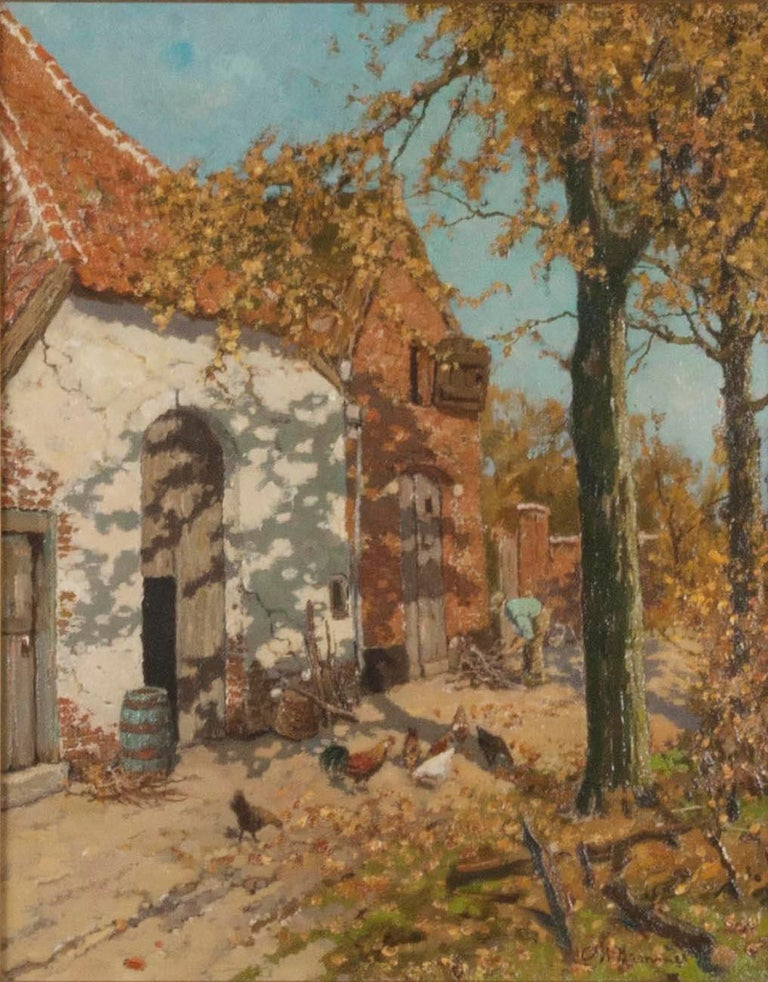 Romantic Early 20th Century Oil Painting of a Farm with Chickens in The Yard For Sale