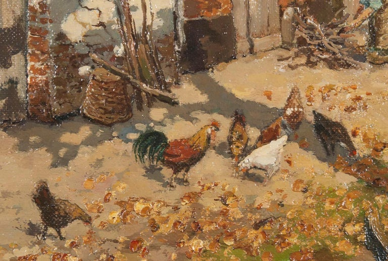 Early 20th Century Oil Painting of a Farm with Chickens in The Yard For Sale 1