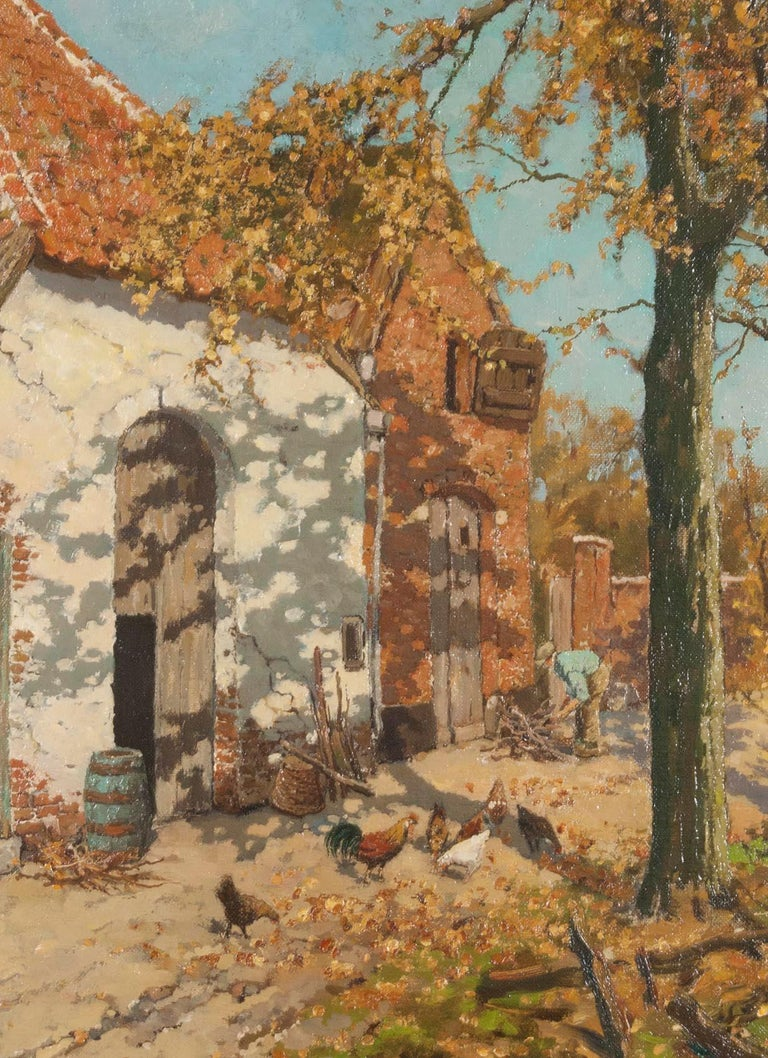 Early 20th Century Oil Painting of a Farm with Chickens in The Yard For Sale 2