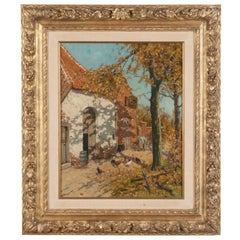 Early 20th Century Oil Painting of a Farm with Chickens in The Yard