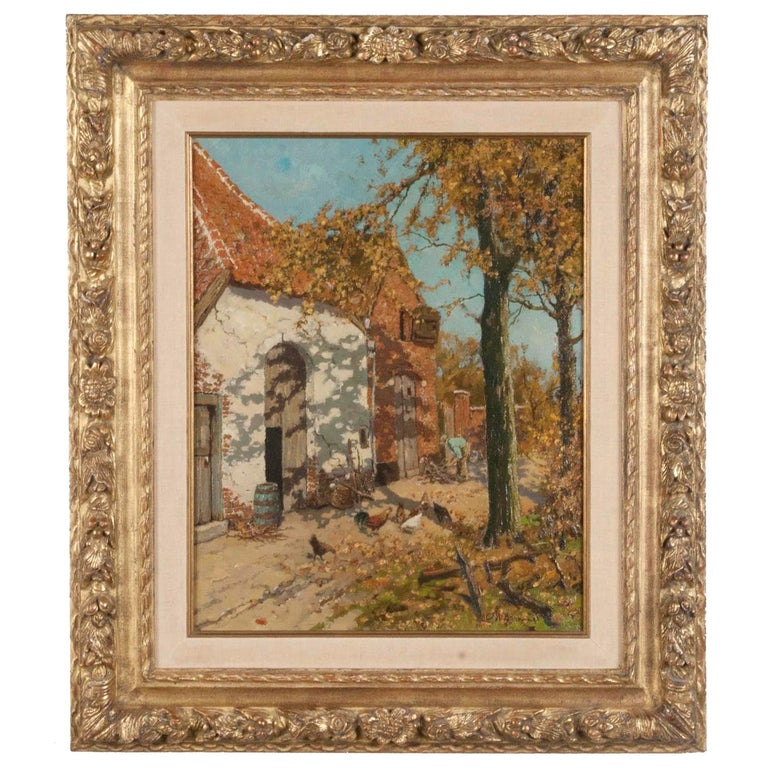 Early 20th Century Oil Painting of a Farm with Chickens in The Yard For Sale