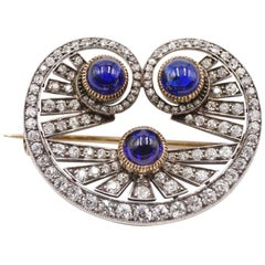 Early 20th Century Old Cut Diamond and Cabochon Cut Sapphire Brooch
