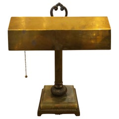 Early 20th Century Onyx and Brass Desk Lamp