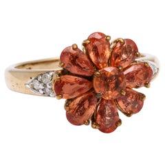 Early 20th Century Orange Sapphire Daisyl Ring