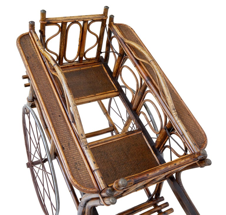 Woodwork Early 20th Century Oriental Bamboo 2-Seat Child Carriage For Sale