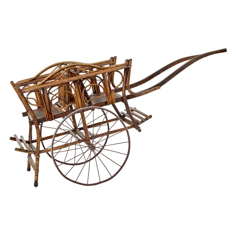 Early 20th Century Oriental Bamboo 2-Seat Child Carriage For Sale