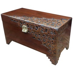 Early 20th Century Oriental Carved Camphor Wood and Teak Chest