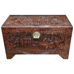 Early 20th Century Oriental Carved Camphor Wood Chest with the Eight Immortals