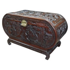 Early 20th Century Oriental Oval Shaped Camphor Wood and Teak Carved Chest