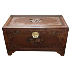 Early 20th Century Oriental Teak and Camphor Wood Carved Chest