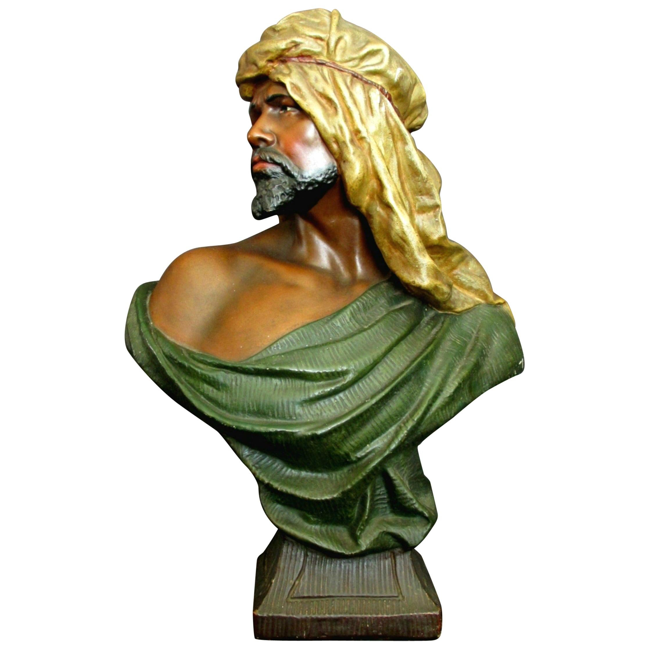 Early 20th Century Orientalist Plaster Bust of a Moor, Austria, circa 1920