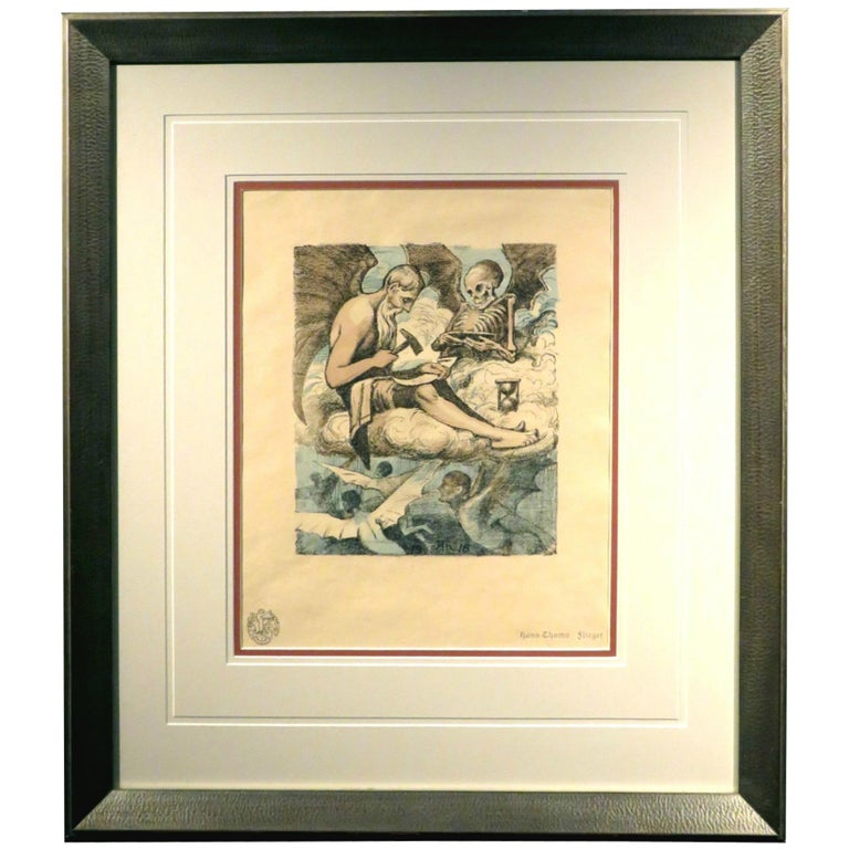 Early 20th Century Original Colour Lithograph by Hans Thoma, Dated 1916 For Sale