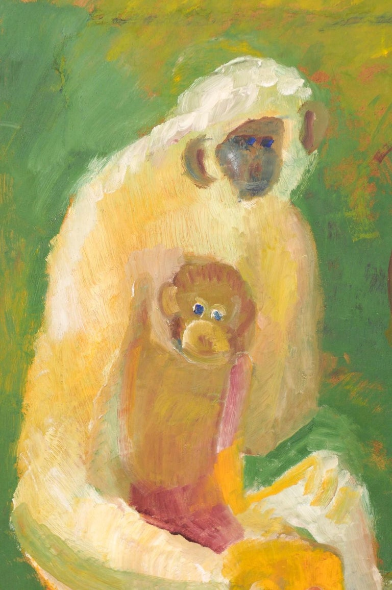 Early 20th Century Original Danish Oil Canvas Painting of Monkeys In Good Condition For Sale In Atlanta, GA