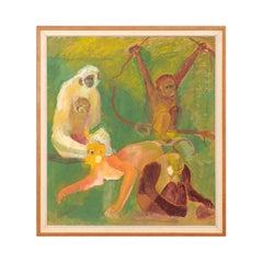 Early 20th Century Original Danish Oil Canvas Painting of Monkeys