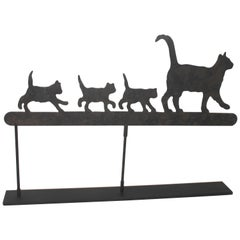 Early 20th Century Original Painted Folky Cats Weather Vane