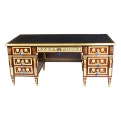 Early 20th Century Ornate Ormolu Mounted French Empire Revival Pedestal Desk