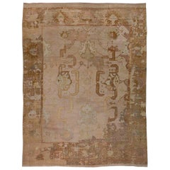Early 20th Century Oushak Light Beige, Taupe, Sandy and Brown Handwoven Wool Rug