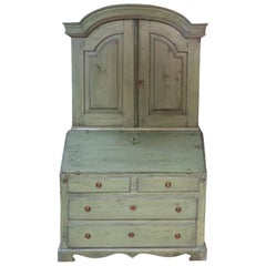 Early 20th Century Painted Green Gustavian Style Secretary, Bookcase