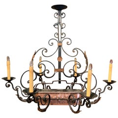 Early 20th Century Painted Iron Six-Light Chandelier with Copper Jardinière