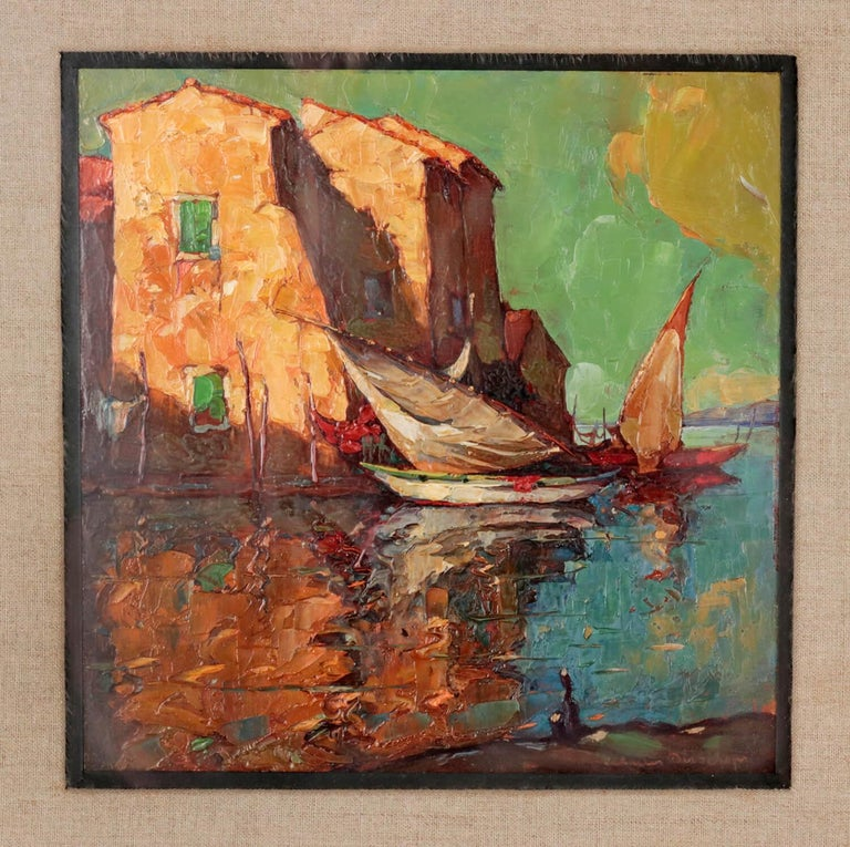 Romantic Early 20th Century Painting by Charles Bisschops, Mediterranean View For Sale
