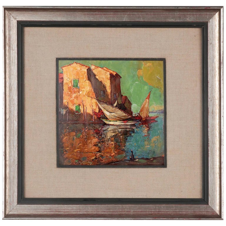 Early 20th Century Painting by Charles Bisschops, Mediterranean View For Sale