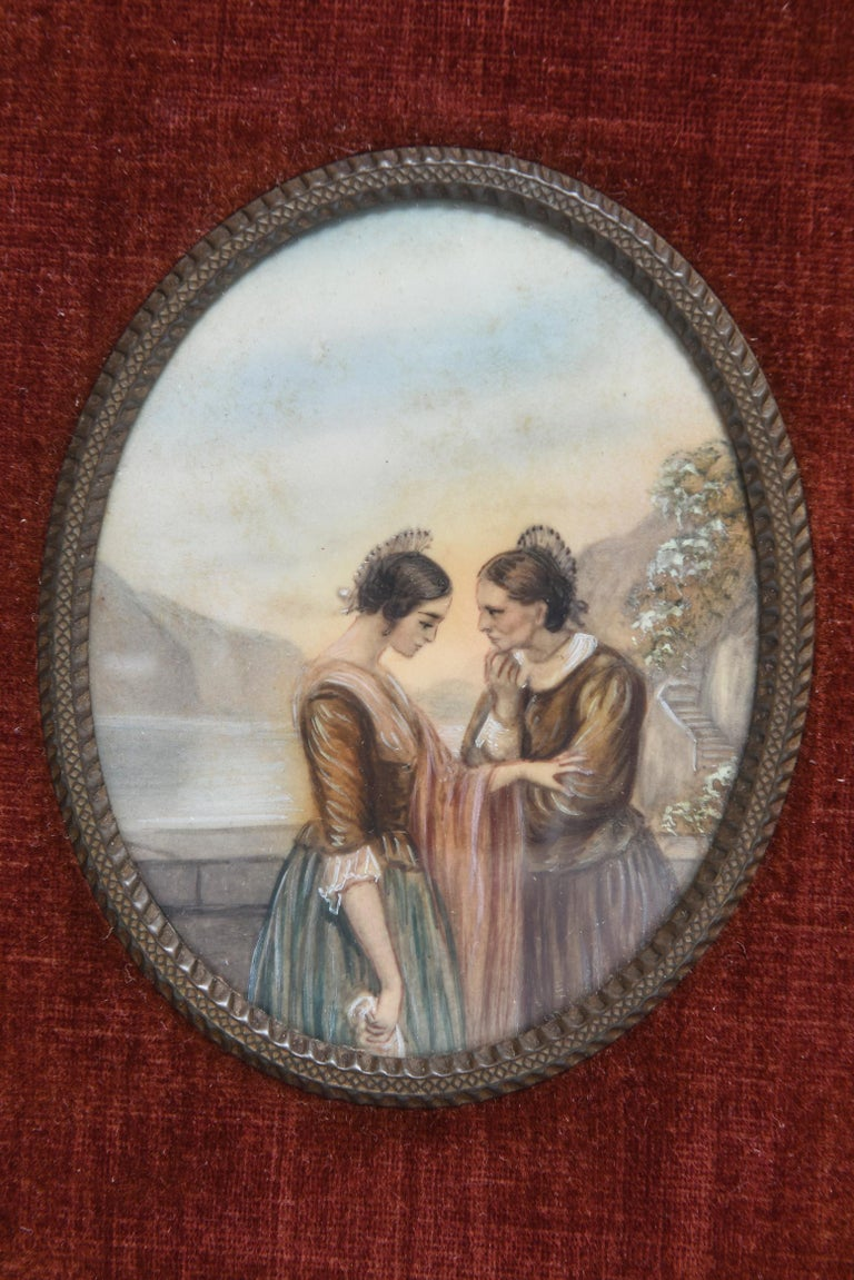 Early 20th Century Painting on Celluloid of Older and Younger Woman in Conversat In Good Condition For Sale In Miami Beach, FL