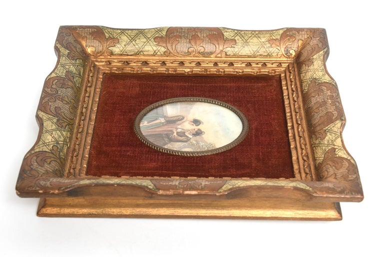 Early 20th Century Painting on Celluloid of Older and Younger Woman in Conversat For Sale 2