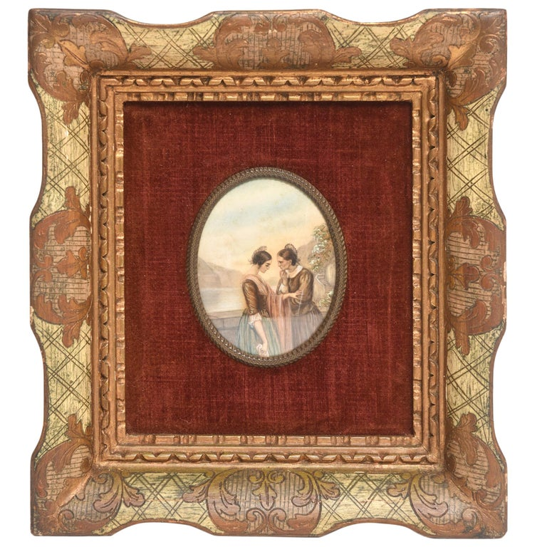 Early 20th Century Painting on Celluloid of Older and Younger Woman in Conversat For Sale
