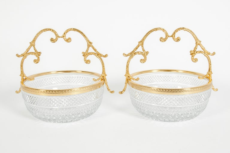 French Early 20th Century Pair of Cut Crystal / Gilt Bronze Handle Bowls / Pieces For Sale