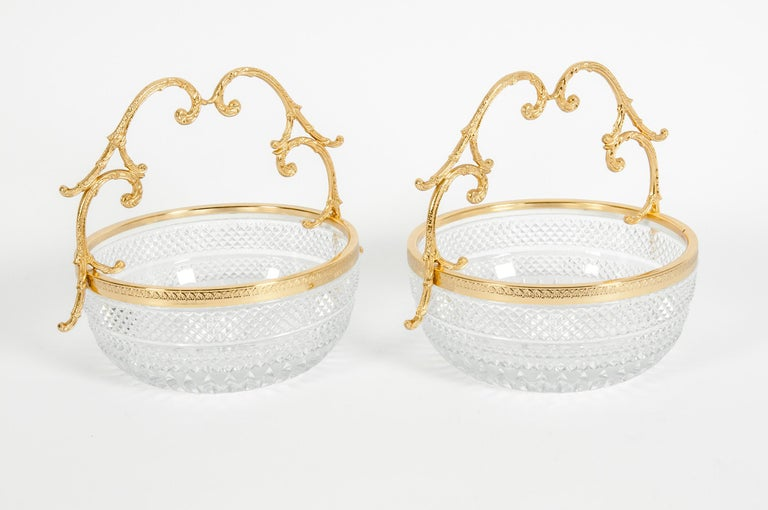 Early 20th Century Pair of Cut Crystal / Gilt Bronze Handle Bowls / Pieces In Excellent Condition For Sale In Hudson, NY