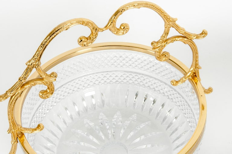 Early 20th Century Pair of Cut Crystal / Gilt Bronze Handle Bowls / Pieces For Sale 1