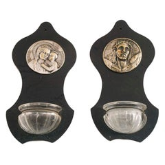 Early 20th Century Pair of Italian Holy Water Font for Nightstands Bedside Table