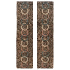 Early 20th Century Pair of American Hooked with Overlapping Rings Handmade Rugs