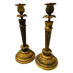 Early 20th Century Pair of Antique Bronze Candlesticks