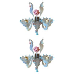 Early 20th Century Pair of Baroque Floral Opalescent Murano Glass Wall Sconces
