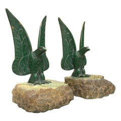 Unique Art Deco Pair of Bronze Eagle Bookend Sculptures in Style Max Le Verrier