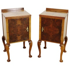 Early 20th Century Pair of Burr Walnut Bedside Cupboards