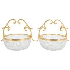 Early 20th Century Pair of Cut Crystal / Gilt Bronze Handle Bowls / Pieces