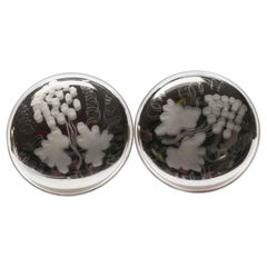 Early 20th Century Pair of Etched Mercury Glass Tiebacks with a Nickel Base