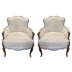 Early 20th Century Pair of French Bergere Chairs