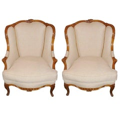 Early 20th Century Pair of French Carved Bergère Chairs