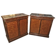 Early 20th Century Pair of French Mahogany Marble-Top Side Cabinets