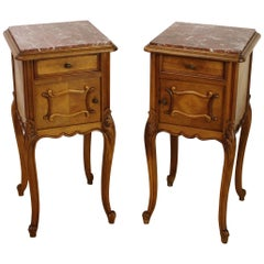 Early 20th Century Pair of French Walnut Bedside Cupboards