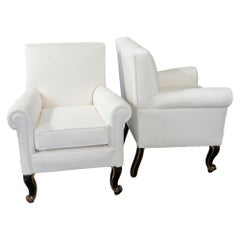 Early 20th Century Pair of Italian Armchairs White Raffia