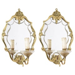 Early 20th Century Pair of Italian Decorative Brass Wall Lights with Mirror