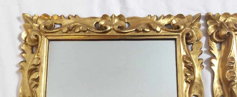 Early 20th Century Pair of Italian Gold Gilt Carved Wood Mirrors For Sale 7