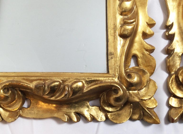 Early 20th Century Pair of Italian Gold Gilt Carved Wood Mirrors For Sale 2